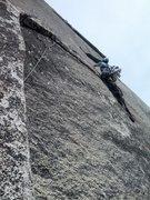 Rock Climbing Photo: Brandon drilling on FA