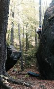Rock Climbing Photo: Chris Bartram high off the deck