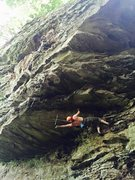 Rock Climbing Photo: Me trying to FA Solomon Grundy