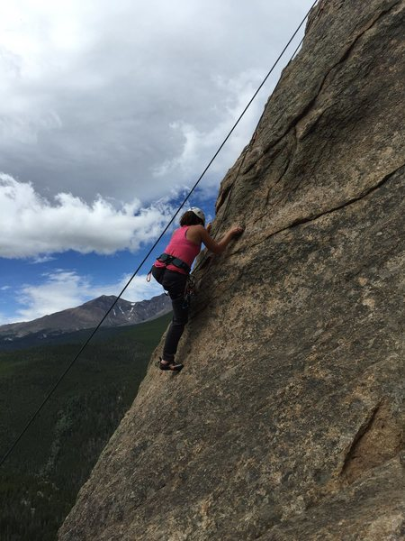 My fiancé Amanda going up Coloradoddity after I did my first lead ever on this route!!!