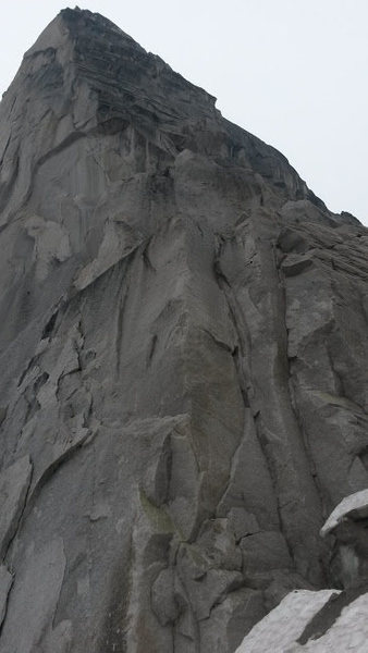 This is the bonus 50' 5.10 corner (followed by 4th class) we climbed to get to the base because the B-S col was unloading huge rocks every couple minutes. This pitch might be hard to access depending on the condition of the bergschrund.