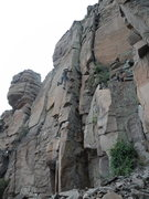 Rock Climbing Photo: Rich on the arete and he needs to straighten up a ...