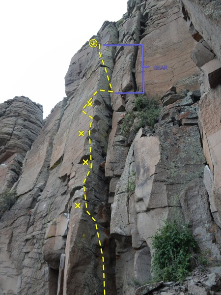 """Rock Climbing Photo: """"Straighten Up and Fly Right"""" Topo"""