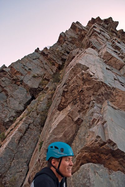Rock Climbing Photo: Looking up at the 2nd and 3rd pitches, from the to...