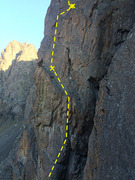 Rock Climbing Photo: Upper pitch one of Timeless, showing both anchor/b...