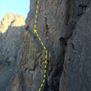 Upper pitch one of Timeless, showing both anchor/belay options (1 bolt + gear, or 2 bolt anchor).