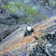 Rock Climbing Photo: Jess nearing the top of Timeless pitch 2