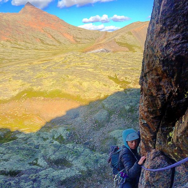 Jess nearing the Timeless pitch 1 two bolt anchor