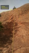 Rock Climbing Photo: Route with Alyssa at the anchors, just below the t...