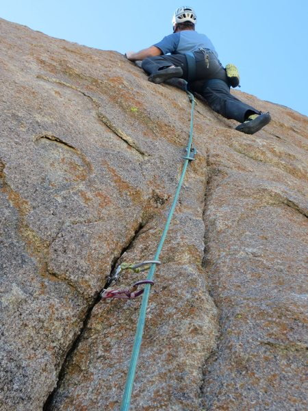 Top Gun is a mixed route, with small cams useful to reach a high first bolt.