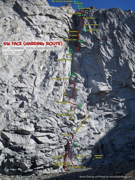 Rock Climbing Photo: Route Overlay: Pitch detail, SW Face Conness