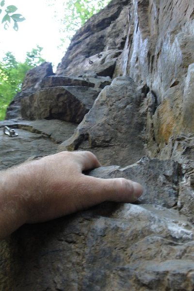 Rock Climbing Photo: Looking up 1/2 way up the route. This climbs has s...