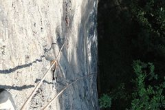 Rock Climbing Photo: Solo leading up pitch two with the anchors to pitc...