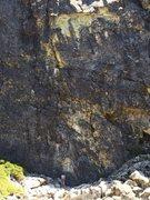 Rock Climbing Photo: chris on vision quest .11c/d, the cove, bowman, ca...