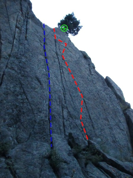 Beta photo for Eat Left (Blue) and Eat Right (Red). The belay/rap is installed on the tree above.
