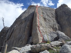 Rock Climbing Photo: Starting about 10' right of the sun/shade arête, ...