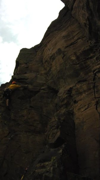 Making the clip just after the crux.