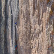 Rock Climbing Photo: Midway up the first 13- pitch on the Honeymoon is ...