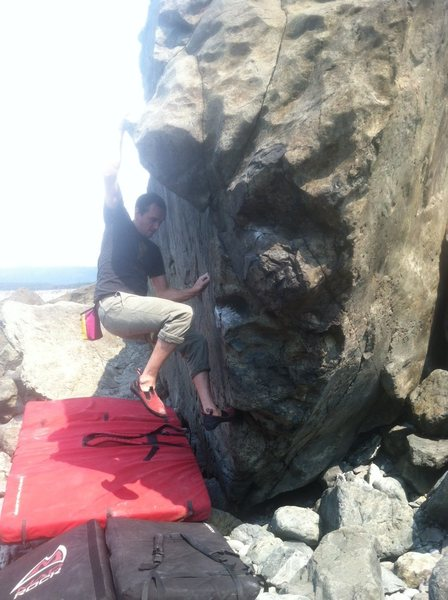Rock Climbing Photo: Big moves on positive slopers