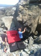Rock Climbing Photo: Billy hitting the first sloper off the sit start