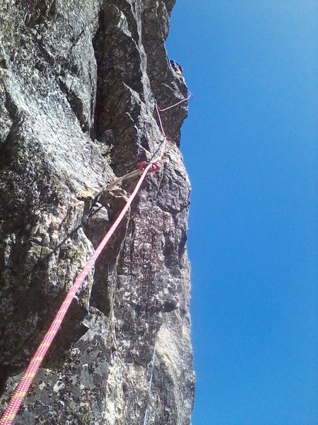 Dan Honneyman on Pitch 3. Dike Route, Castle Crag
