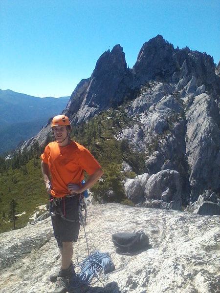 Rock Climbing Photo: Dan Honneyman on top of castle dome,  Dike Route, ...