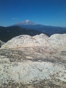 Rock Climbing Photo: Top of Dike Route, Castle Crag, Mt Shasta in the d...