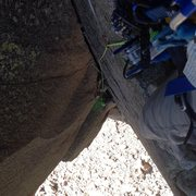 Rock Climbing Photo: hands free rest at the start of second pitch