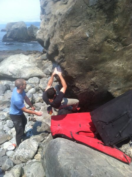 Rock Climbing Photo: Pretty tricky setting up for the throw to that cri...