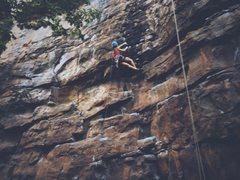 Rock Climbing Photo: Kim pulling on Green Goblin