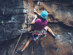 Rock Climbing Photo: Kim down low on on Season of the Storm
