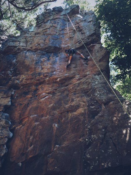 Rock Climbing Photo: Kim high on crimp scampi