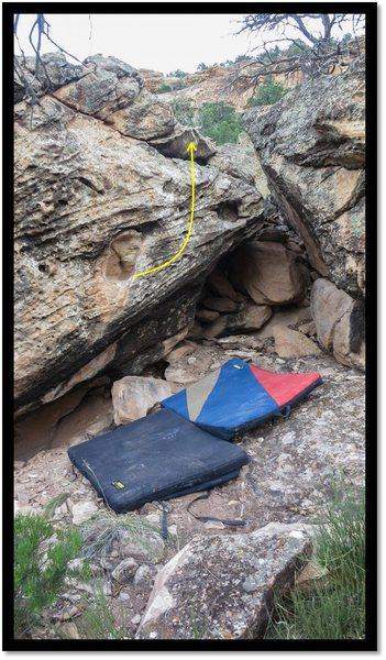 Rock Climbing Photo: Two Hole Stroll problem beta.