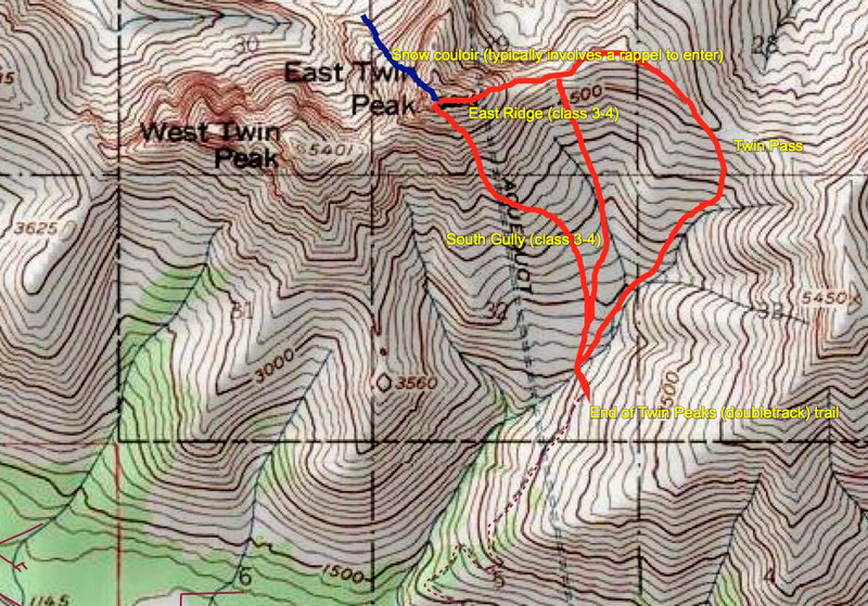 Rock Climbing Photo: Typical ETP routes (climbing routes in red, snow c...