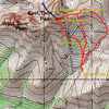 Typical ETP routes (climbing routes in red, snow couloir in blue)