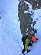 Rock Climbing Photo: Dr. Inouye climbing out of the main couloir (just ...