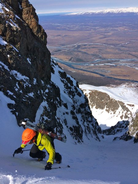 Dr. Inouye nearing the top of the West Twin Pencil Thin.