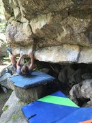 Rock Climbing Photo: One move in on the problem right hand starts under...
