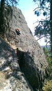 Rock Climbing Photo: Kevin Driscoll on Corkscrewed- 5.8
