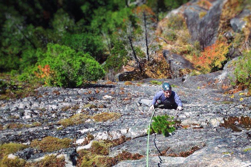 Rock Climbing Photo: Tony climbing Starfish 5.9, Blues Cliff