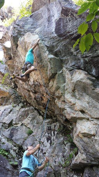 Rock Climbing Photo: Dave Quinn on Full Throttle, 5.12 a/b Rumney, NH
