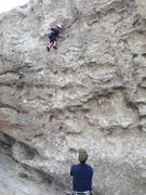 """My 4.5 y/o son climbing """"Far Left"""" on top rope. I admit there were a couple of times his little arms couldn't quite reach the next hold and I hoisted him up six inches until he could reach it, but it's a very child-friendly route."""