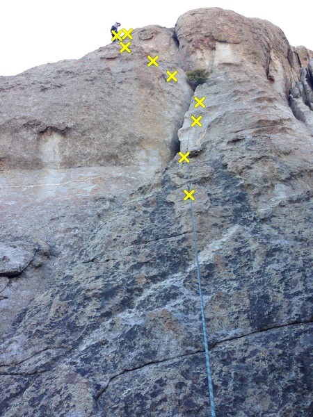 Crux is between bolts 4 and 5 as you transition across the crack.