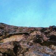 Rock Climbing Photo: Mary H. on pitch 2 traverse.
