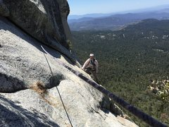 Rock Climbing Photo: Z Man on the traverse over to lunch ledge,Cool und...