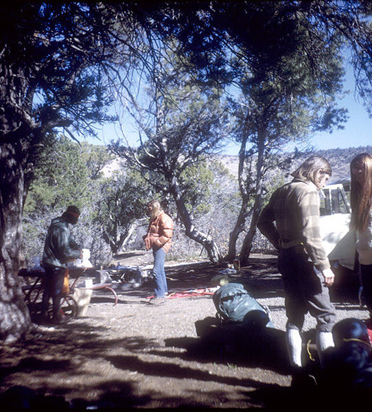 In camp, north rim. Black Canyon. Colorado Academy kid, Greg Nelson, Steve Nelson and Korky Kor. <br> Photo; Tia Banfield