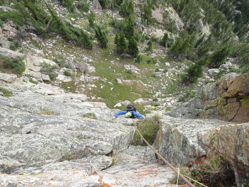 Rock Climbing Photo: Todd following P1.