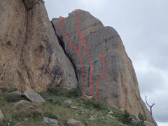 Rock Climbing Photo: Lookin', Always Lookin' (route E), combined with L...