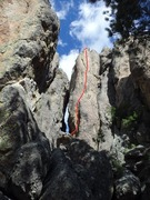 Rock Climbing Photo: Bella Venetta goes up the sunny face to the right ...