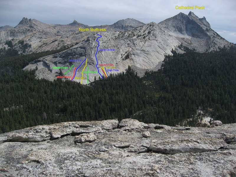 Routes on North Buttress viewed from Fairview Dome